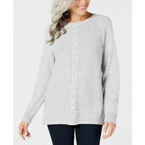 Karen Scott Crewneck Sweater, Smoke Grey Marl, XL